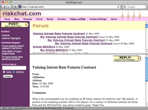 The RiskChat.com website as it appeared from the early to late 2000s. The forum sported designs over its life. No images remain of the second one, which was used from the late 1990s to early 2000s.