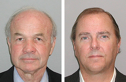 Mug shots of Ken Lay (left) and Jeff Skilling. Source: United States Marshals Service.
